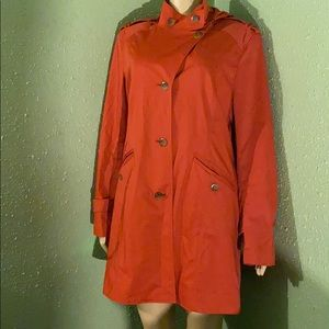 Cole Haan Orange Hooded Rain Coat size 14
